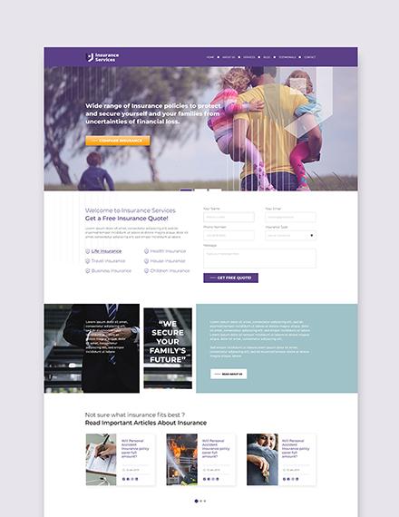 Sample insurance agency wordpress landing page theme