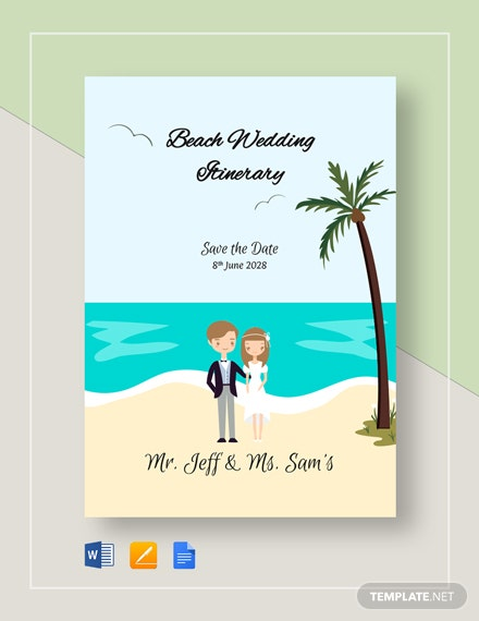 Beach Wedding Itinerary Template