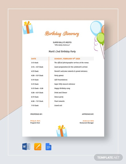 Birthday Itinerary Template