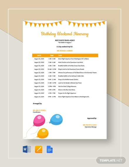 Birthday Weekend Itinerary Template