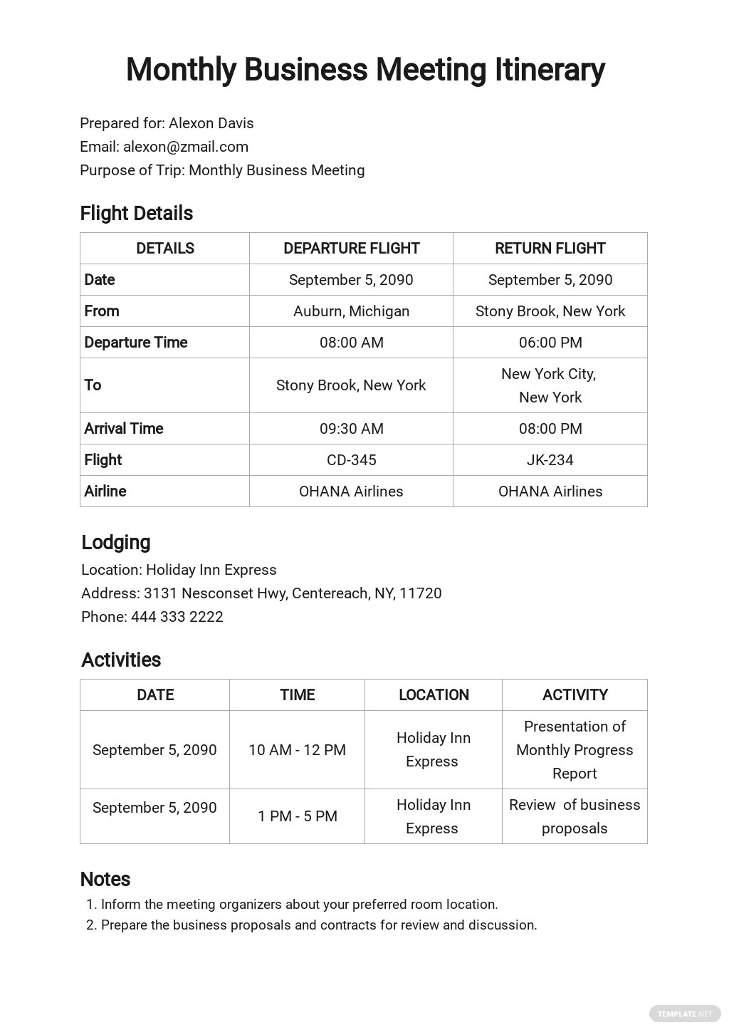 Business Itinerary Template [Free PDF] - Google Docs, Word