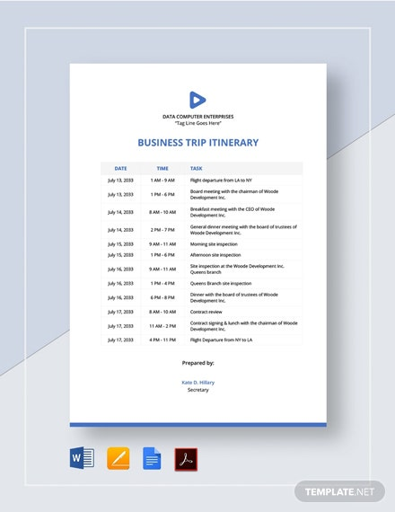 Business Trip Itinerary Template