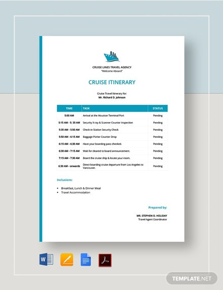 Cruise Itinerary Template