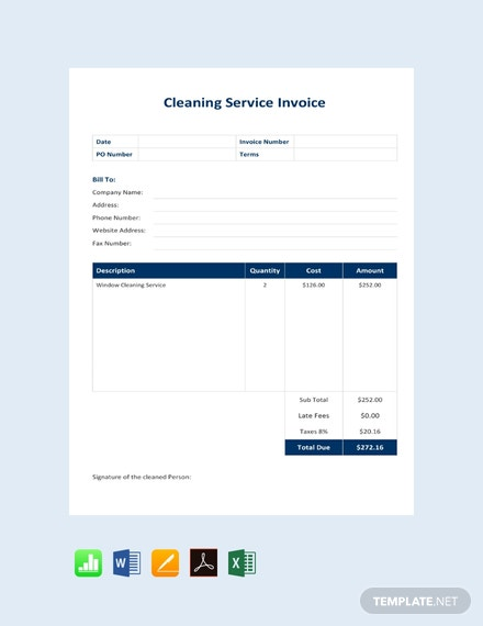 Free Cleaning Service Invoice Template Pdf Word Excel