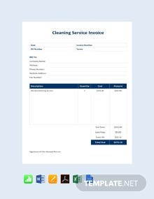 Free Cleaning Service Invoice Template