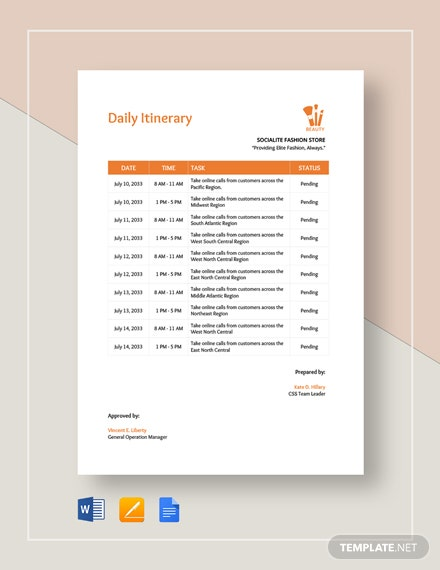 Daily Itinerary Template