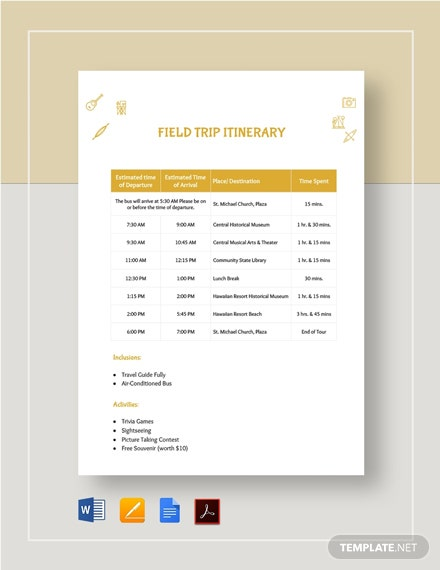 Field Trip Itinerary Template