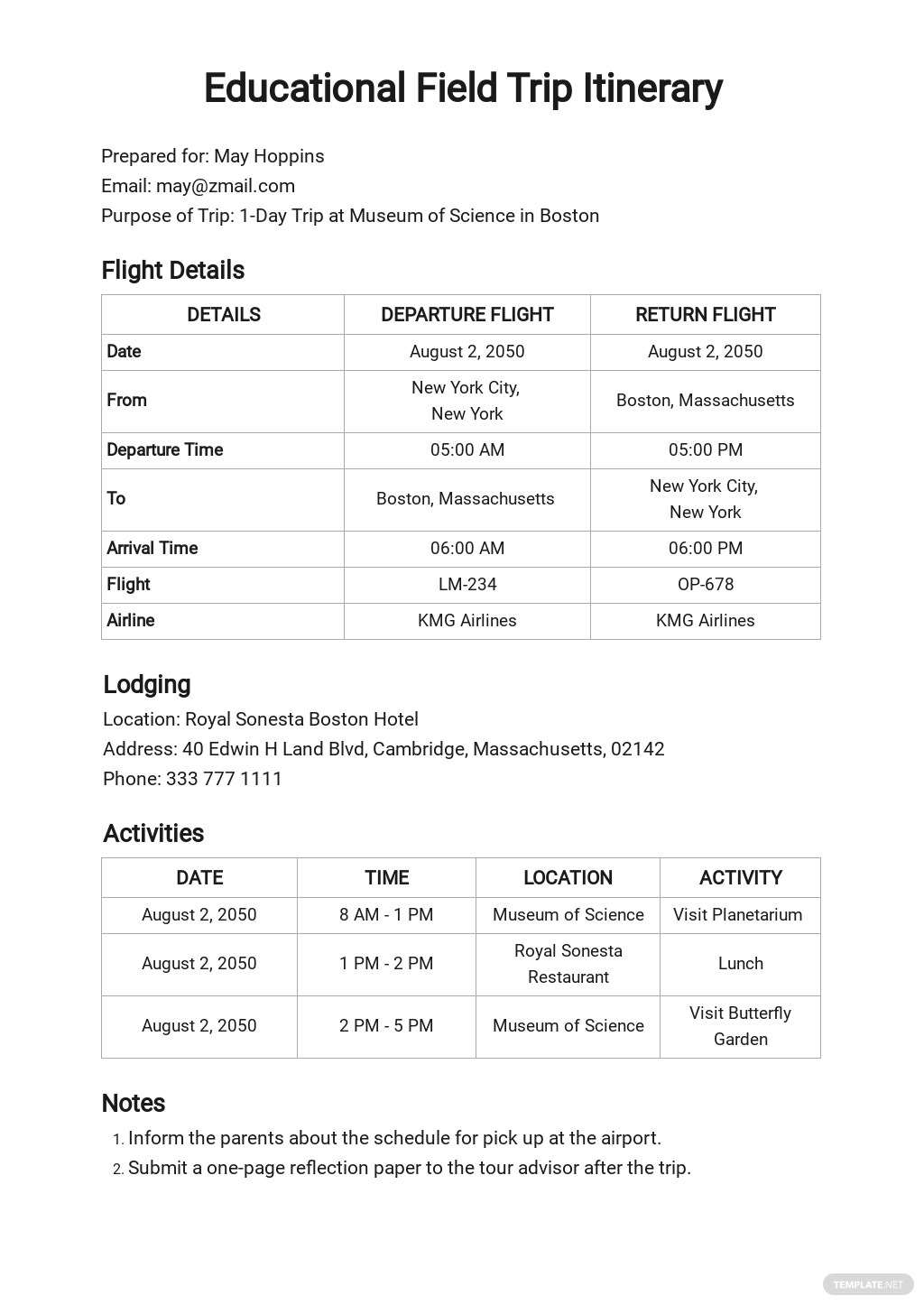 Field Trip Itinerary Template.jpe