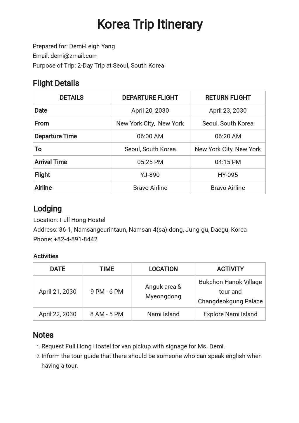 Flight Itinerary Template