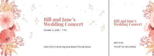 Fall Wedding Concert Ticket Template