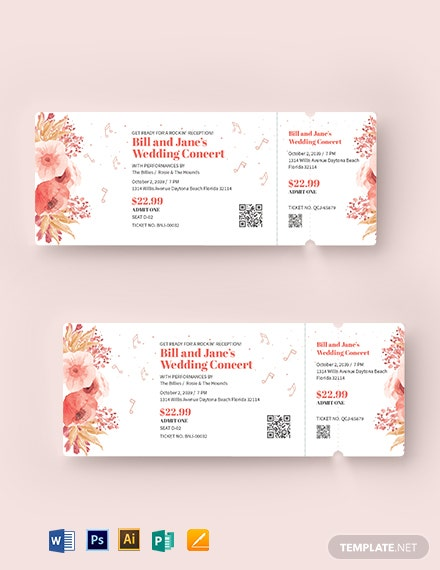 Fall Wedding Concert Ticket Template