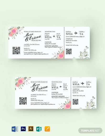 wedding invitation airline ticket