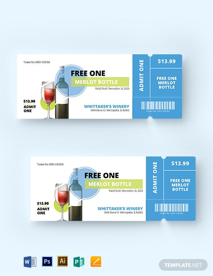 Wine Drink Ticket Template