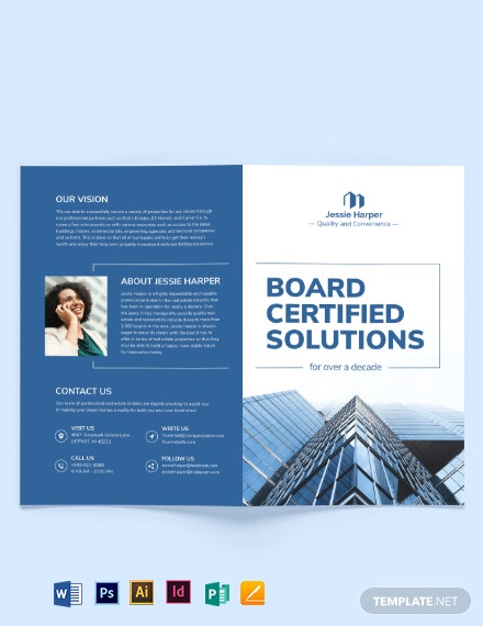 Professional Real Estate Broker Bi-fold Brochure Template