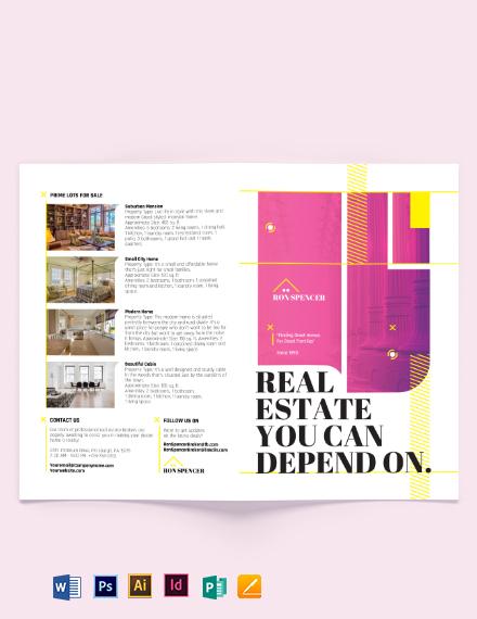 Real Estate Broker Marketing Bi-fold Brochure Template