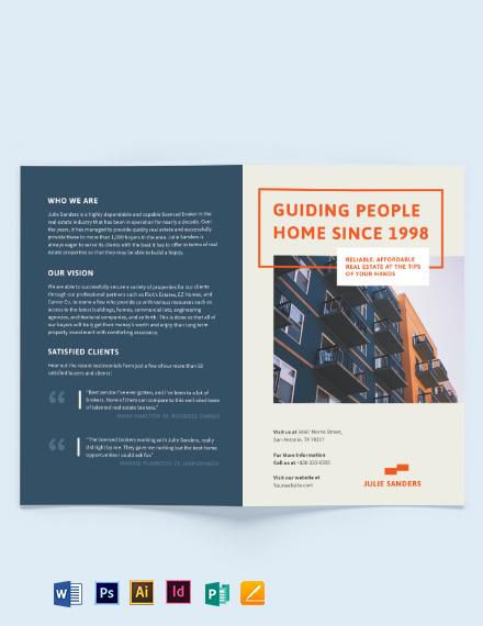 Licenced Real Estate Broker Bi-fold Brochure Template