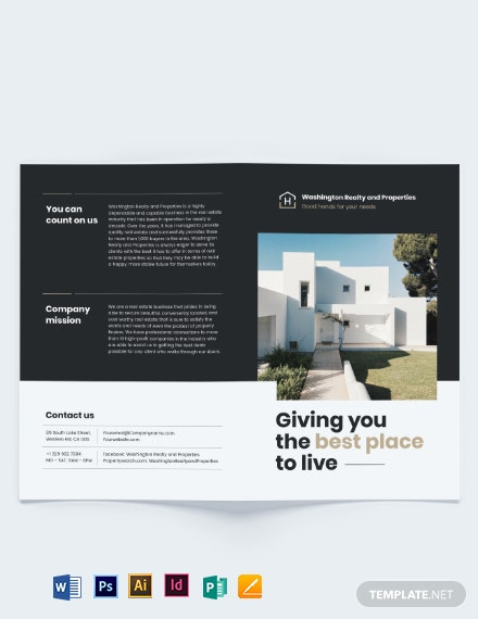 commercial realtor bi fold brochure