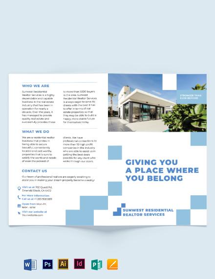 Residential Realtor Bi-Fold Brochure Template