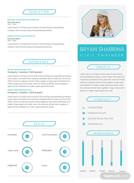 free english teacher cv template in adobe photoshop