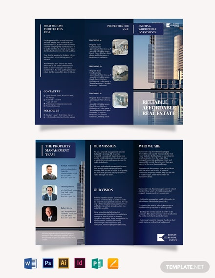 Luxury RealEstate Agent/Agency Tri-Fold Brochure Template