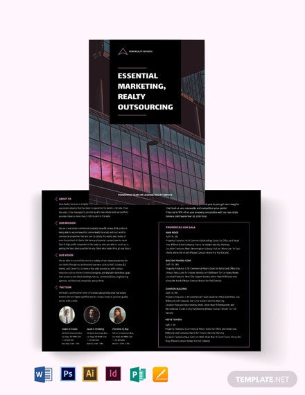 Commercial Real Estate Marketing Bi-Fold Brochure Template