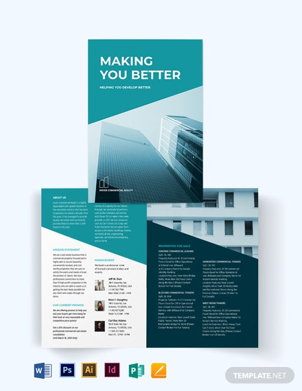 Commercial Lease Real Estate Bi-Fold Brochure Template