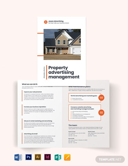 property management advertising bi fold brochure