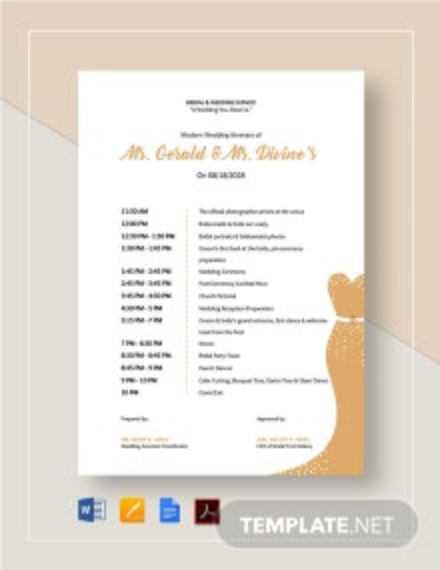 Modern Wedding Itinerary Template