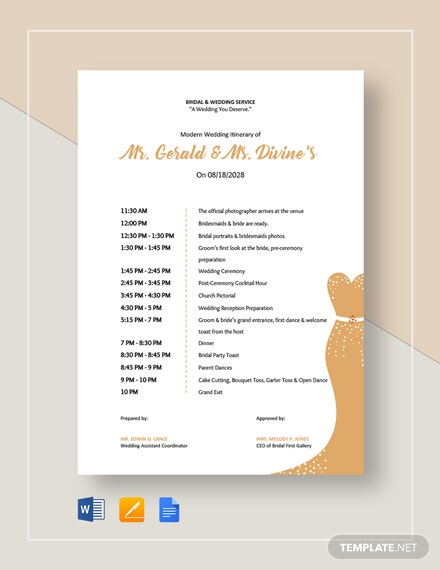 Modern Wedding Itinerary Template