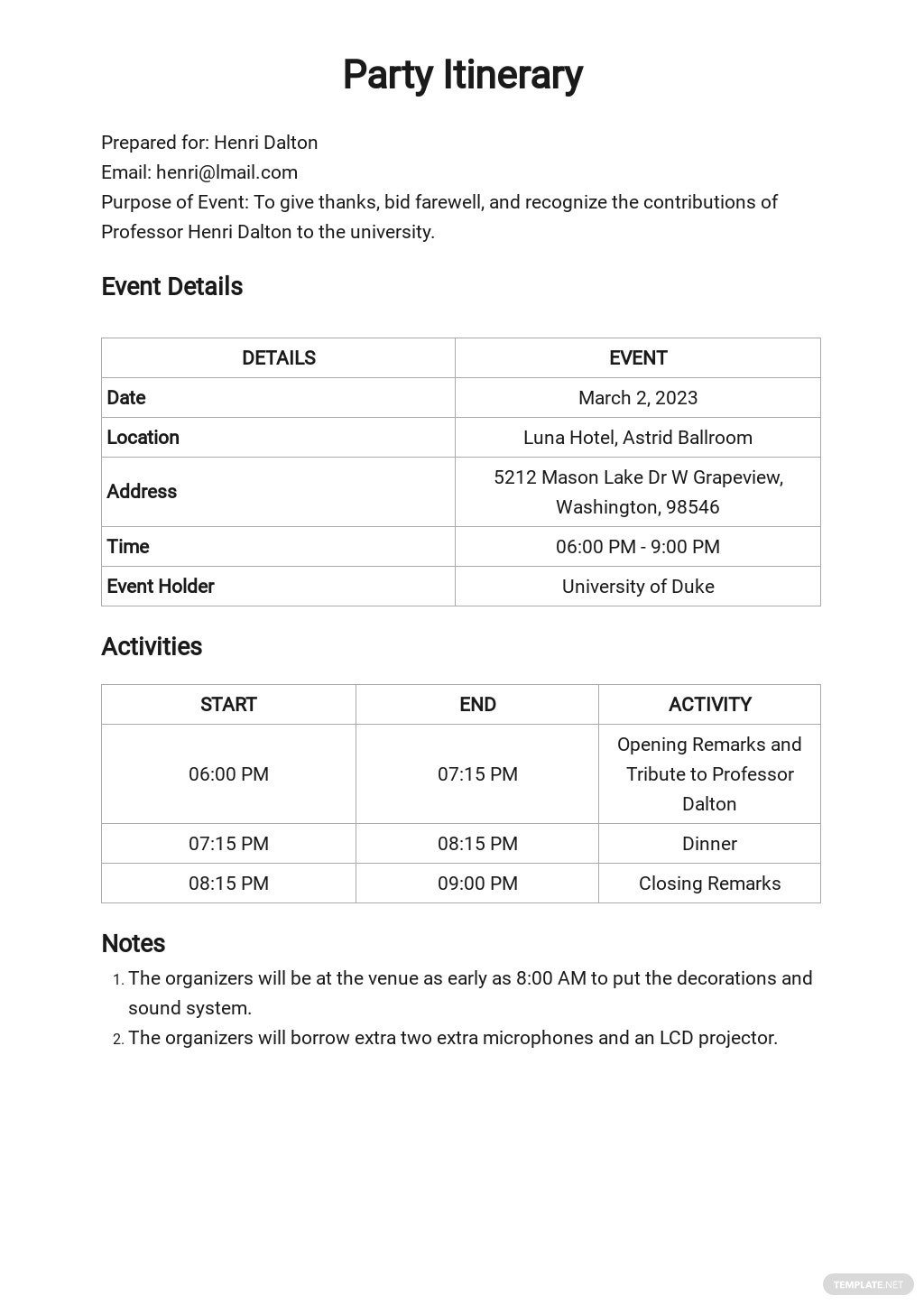 Party Itinerary Template