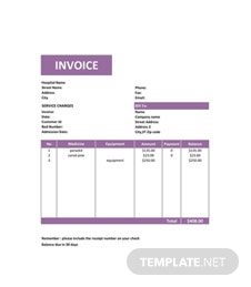Free Medical Service Invoice Template