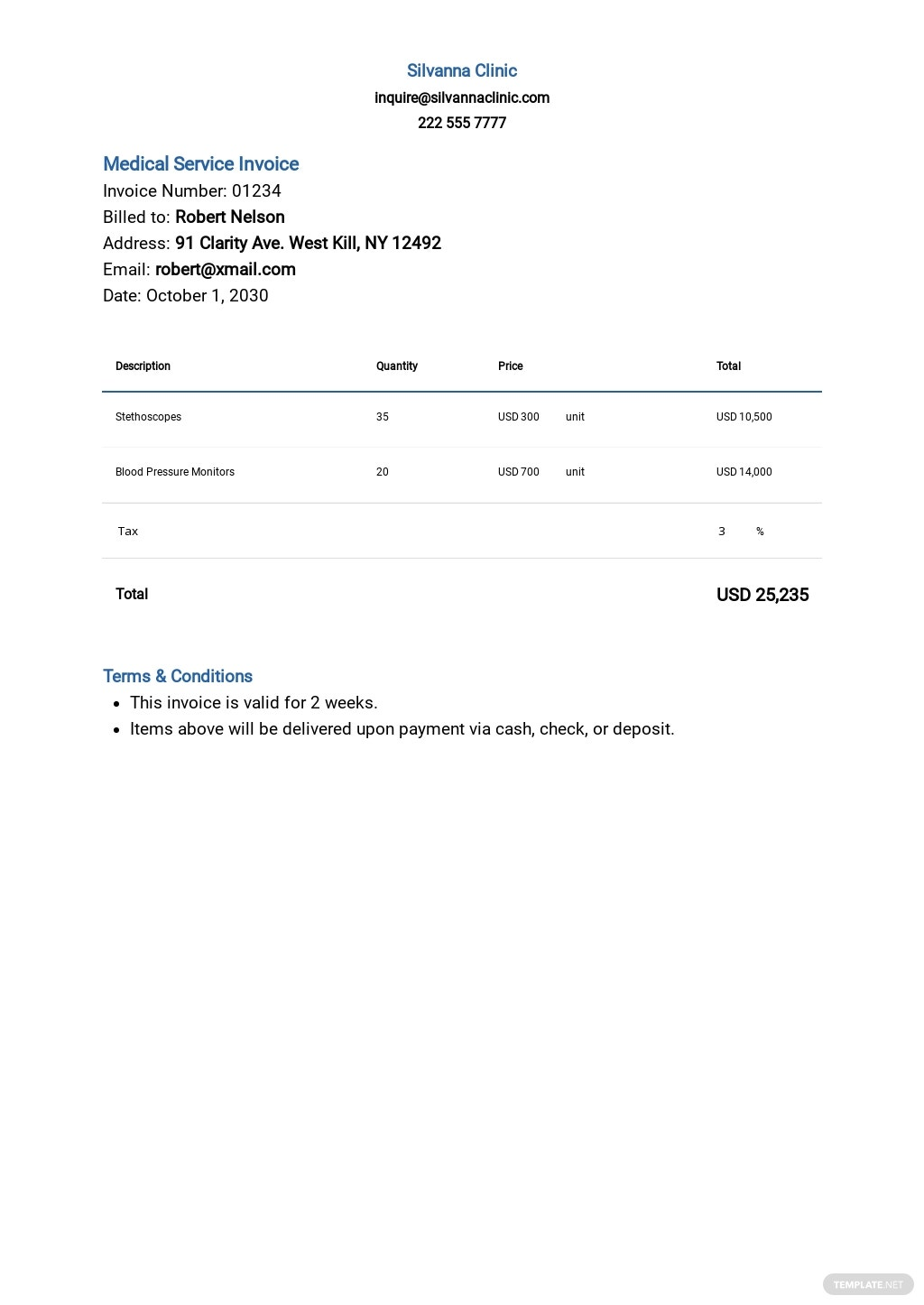 Medical Service Invoice Template