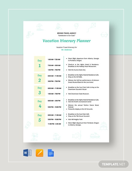 Vacation Itinerary Planner Template