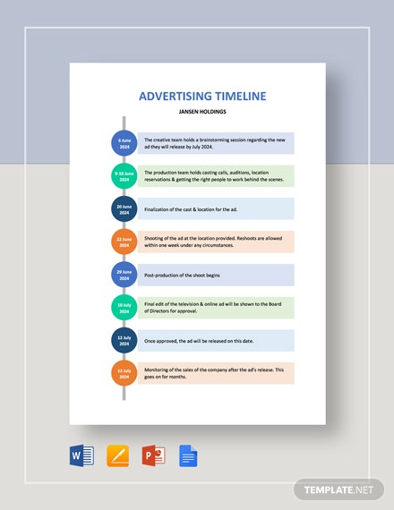 Advertising Timeline Template