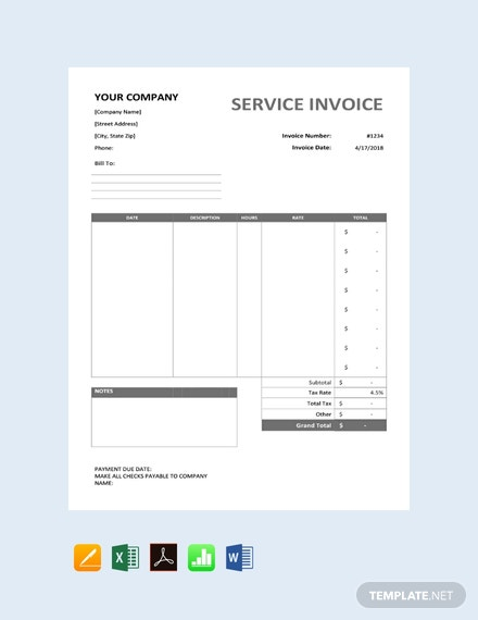 Free Sample Service Invoice Template