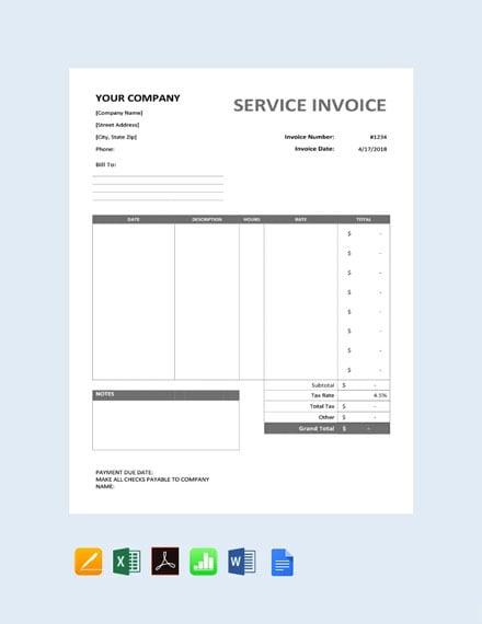 Free Sample Service Invoice Template