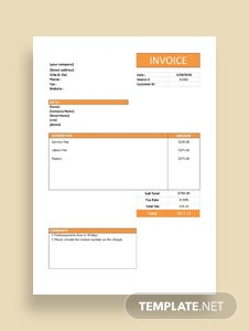 Free Simple Service Invoice Template