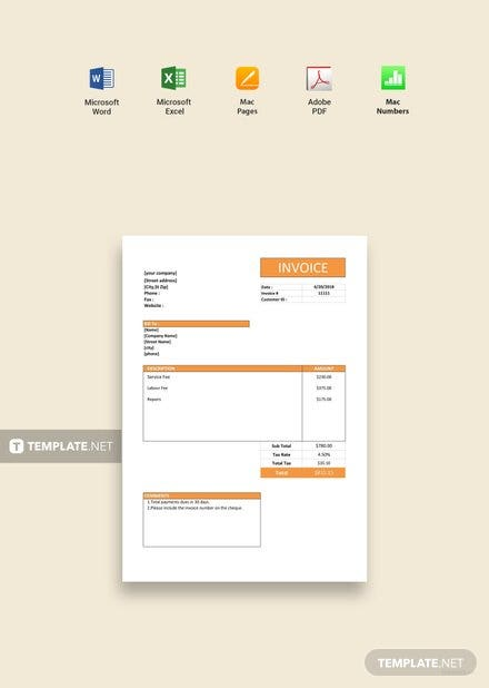 free simple service invoice template download 78 invoices in word