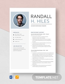 Accounts Receivable Manager Resume Template