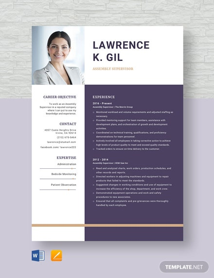 Assembly Supervisor Resume Template