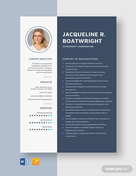 Assessment Coordinator Resume Template
