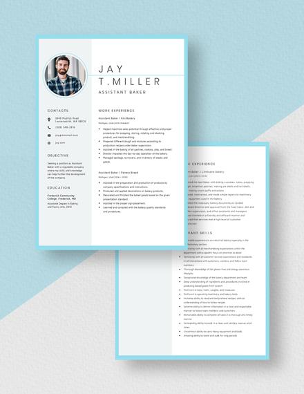 Assistant Baker Resume Download