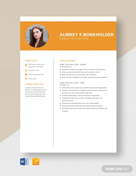 Cable Technician Resume Template