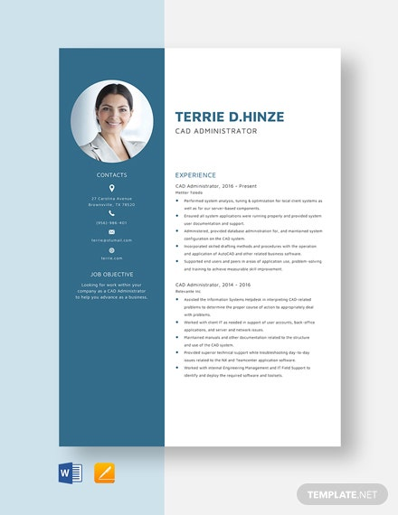 CAD Administrator Resume Template