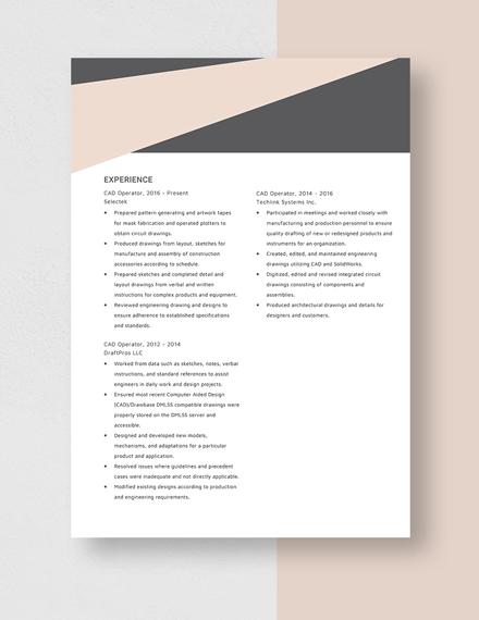 CAD Operator Resume Template