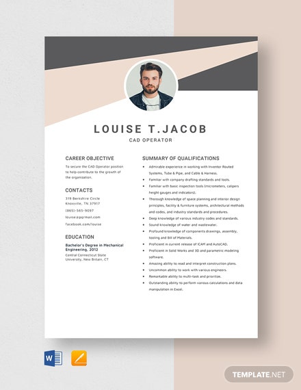 CAD Operator Resume Template
