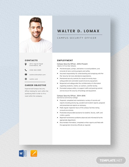 Campus Security Officer Resume Template