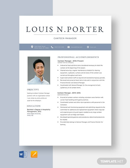 Canteen Manager Resume Template