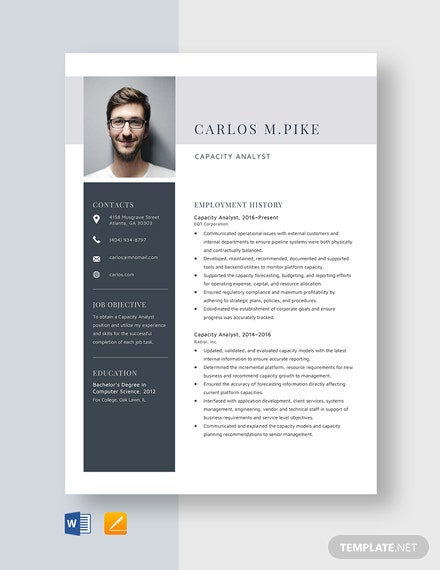 Capacity Analyst Resume Template