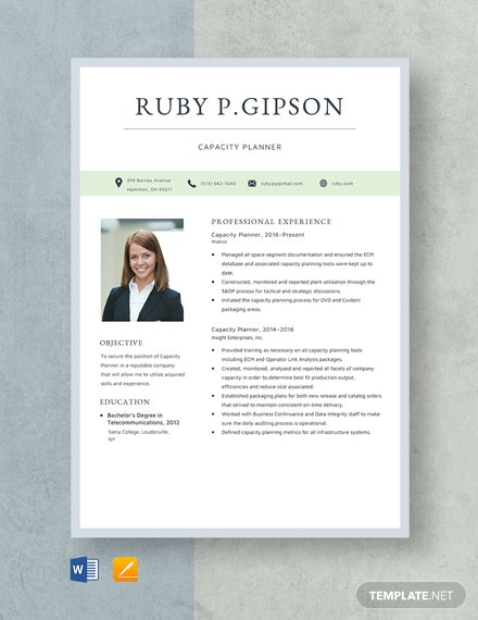 Capacity Planner Resume Template